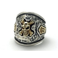 BILL WALL LEATHER(ビルウォールレザー)/GRAFFITI DOME RING w/ BRASS SKULL BONE COFFIN TOP (グラフィティドームリングw...