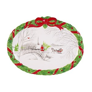 Fitz and Floyd Vintage HolidayコレクションCookie Platter、ホワイト