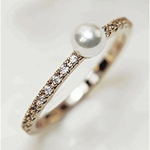 """Gieschen Jewelers """" Paulina """" 14Kローズ/ホワイト金メッキリングwith Simulated Pearl"""