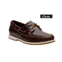 クラークス Clarks デッキシューズ Fulmen Row Dark Tan Leather Brown