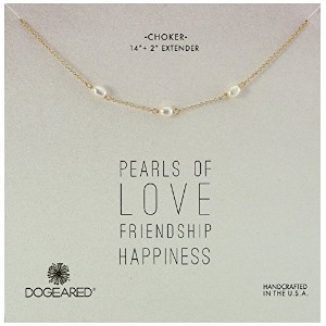 """Dogeared Pearls Tripleパールチョーカーのネックレス、14"""" + 2"""" Extender"""