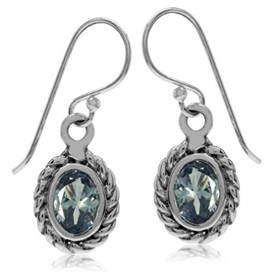 Simulated Colour Change Alexandrite 925 Sterling Silver Rope Dangle Hook Earrings