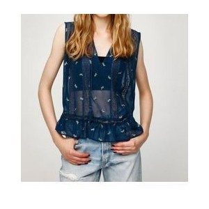 LACY EMBROIDERY TOP【マウジー/MOUSSY レディス Tシャツ・カットソー 柄NVY ルミネ LUMINE】