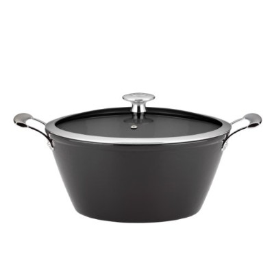 Mario BataliライトEnameled Cast Iron 3-quart Round Casserole by Dansk、ブラック