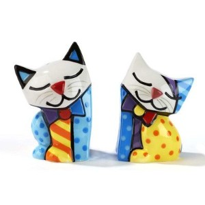 Romero Britto Cat Salt and Pepper Shaker Set by Gift Craft
