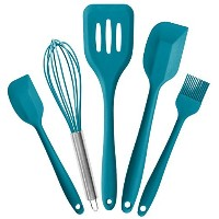 StarPack Premium Silicone Kitchen Utensils Set (5 Piece) in Hygienic Solid Coating + Bonus 101...