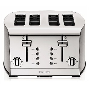 KRUPS KH734D Breakfast Set 4-Slice Toaster with Brushed and Chrome Stainless Steel Housing, Silver ...