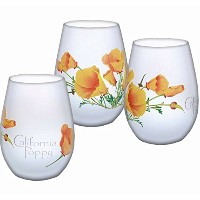 California Poppy Frosted Stemlessワインガラス