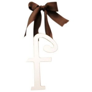 New Arrivals Wooden Letter F with Solid Brown Ribbon, Cream by New Arrivals