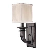 Hudson Valley Lighting Phoenicia 1-Light Wall Sconce - Old Bronze Finish with Off White Linen Shade...