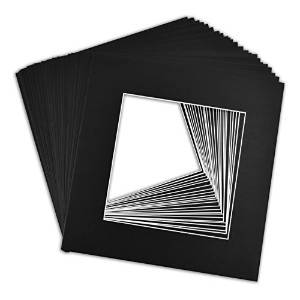 "Pack of 12 x 12ブラックマット+ Backing +バッグ 12"" x 12"" 25-Pack Black Mats Only 12x12-B-25"