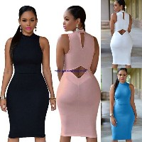 Women Short Party Bodycon Dress Open Back Club Dress Sleeveless Tank Dress Gift