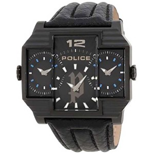 ポリス Police Men's PL-13088JSB/02 Hammerhead Rectangular Black IP Tri-Dial Leather Watch [並行輸入品]
