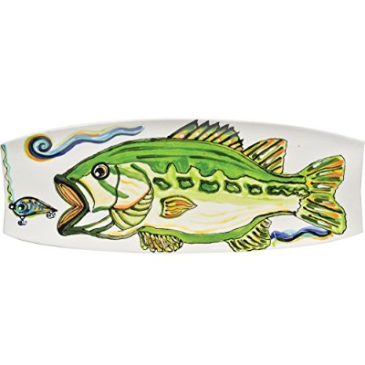 Thompson & Elm Dana Wittmann Collection Jumbo Ceramic Serving Platter, 17.75 x 6.5-Inches, Bass