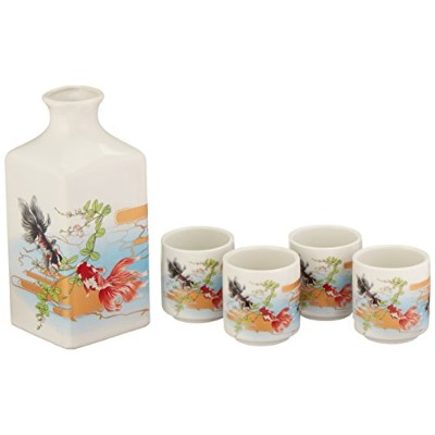Happy Sales 5 piece Japanese Sake Set Goldfish、マルチカラー