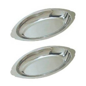 20 oz. (Ounce) Stainless Steel Oval Au Gratin Serving Dish Pan Platter - Set of 2 by Update...