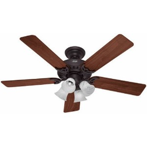 Hunter 53067 Studio Series 52-inch New Bronze Ceiling Fan with Five Walnut/Cherry Blades and Light...