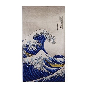 Japan Heavyweight Ukiyoe Noren Curtain Hokusai The Great Wave Kanagawa Rayon Cotton Fabric by...