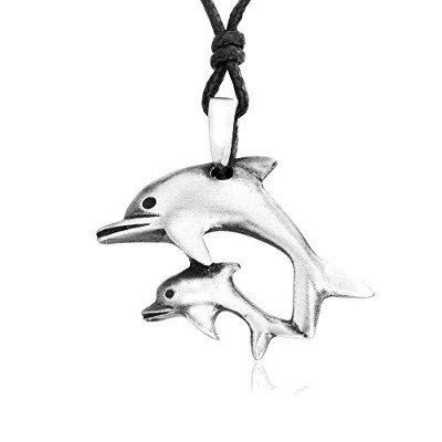 Mother And Baby Dolphin Pewter Pendant Necklace