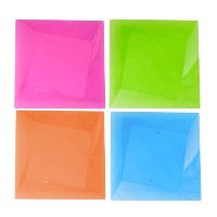 Party Essentials Hard Plastic Square Twist 8-Inch Party/Dessert Plates, Assorted Neon, 10 Count by...