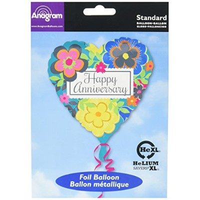 Anagram International Bright Floral Anniversary Balloon, Multicolor