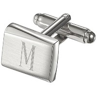 Visol Saturn PersonalizedステンレススチールCufflinks with Engraved Letter M