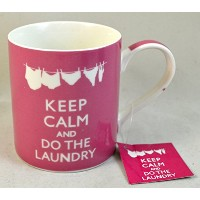 Keep Calm and Do the Laundry :ピンクセラミックマグ