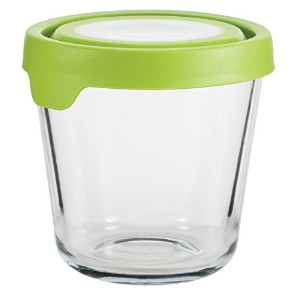 Anchor Hocking 3.5 Cup Tall Round Kitchen Food Storage with Green True Seal Lid, Clear by Anchor...