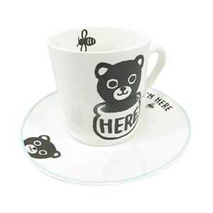 Cute BearカップマグIm Here ( 9オンス) and Saucer ( 2 Piece )