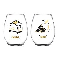 Fifth AvenueクリスタルToasted & Juiced Stemless Glasses ( Set of 2 )、クリア