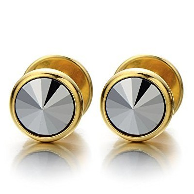 (Wide:10MM) - Mens Gold Stud Earrings Stainless Steel Cheater Fake Ear Plugs Gauges with Metallic...
