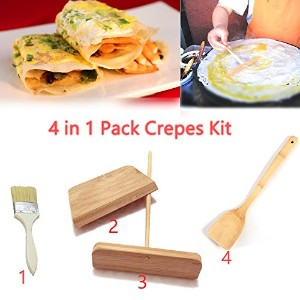 """4in1パックCrepesキット(竹Spreader、竹へら、ブラシand Scraper ) Great for Chinese """" Jianbing """" CREPESツールCrepes..."""