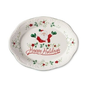 "Pfaltzgraff Winterberry Happy Holidays Santa 11 "" Oval Stoneware Platter"