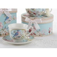 Porcelain Tea Cup and Saucer w /装飾ギフトボックス、ブルー鳥