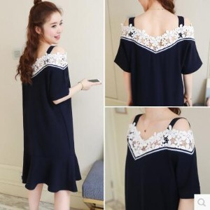 New lace word dress in the long section of loose short-sleeved pregnant women skirt