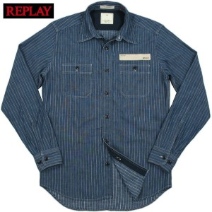 【SALE】50%OFF★REPLAY (リプレイ) MAESTRO DENIM MANUFACTURERS STRIPE L/S WORK SHIRT (長袖ストライプワークシャツ) INDIGO...