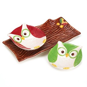 3Piece Holiday Hootスナックプレートand Serving Tray Set Snack Plates 10016062