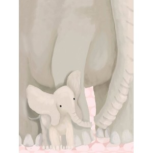Oopsy Daisy Stand by Me Elephants Powder Pink Stretched Canvas Wall Art by Meghann O'hara, 18 by 24...