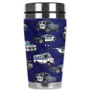 Mugzie Police Cars Travel Mug with Insulated Wetsuit Cover, 16 oz, Multicolor by Mugzie