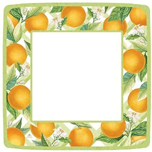 Entertaining with Caspari Orangerie Square Dinner Plates Dinner Plates オレンジ 12370DP