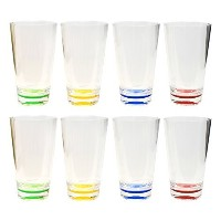 QG 8pc 23 oz Clear Acrylic Iced Tea Cup with Colored Base Plastic Tumbler Set in 4 Assorted Colors...