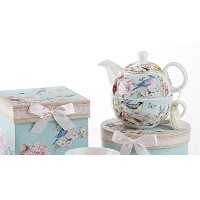 Delton製品Porcelain Tea for One with装飾ギフトボックス、ブルー鳥