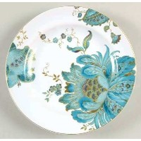 222Fifth Eliza Teal Fine Chinaサラダプレート、4のセット、円