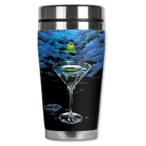 Mugzie Michael Godard Zen Martini Travel Mug with Insulatedウェットスーツカバー、16オンス、ブラック