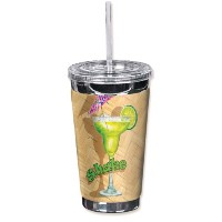 "Mugzie 722-tgc "" Tropical Drinks "" To Go Tumbler with Insulatedウェットスーツカバー、16オンス、ブラック"