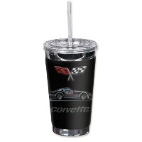 "Mugzie gm-142-tgc "" Corvette Pace Car "" to go Tumbler with Insulatedウェットスーツカバー、16オンス、ブラック"
