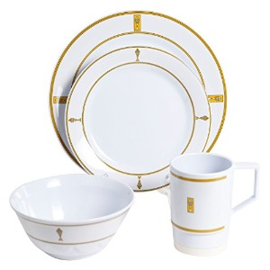 Galleyware 1077-l 24 Decoratedメラミン滑り止め24 Piece Dinnerwareギフトセット
