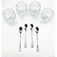 Best frosted Root Beer Float Glasses 8Piece Set -4-iceクリームソーダMugs Set with 4-extra Long 18/...