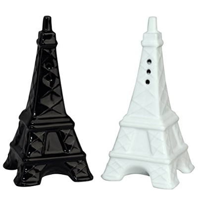 Paris Eiffel Tower Salt and Pepper Shakers - Set/2 White and Black