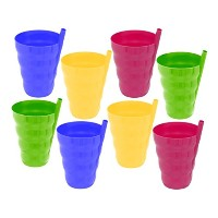 sip-a-cup 10オンスプラスチックカップでBuiled in Straw for Kids Assorted Colors